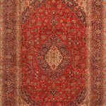 Hand-knotted Kashan Light Navy, Red Wool Rug 9'3″ x 13'3″