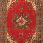 Hand-knotted Tabriz Light Navy, Red Wool Rug 9'7″ x 12'9″