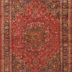 Hand-knotted Mashad Red Wool Rug 9'6″ x 11'11""