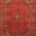 Hand-knotted Kashmar Red Wool Rug 9'8″ x 12'11""