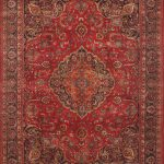Hand-knotted Mashad Red Wool Rug 9'8″ x 12'9″ (1)