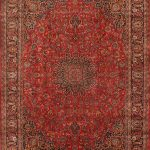 Hand-knotted Kashmar Red Wool Rug 9'8″ x 12'7″ (1)