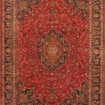Hand-knotted Mashad Red Wool Rug 9'8″ x 12'6″