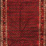 Hand-knotted Hamadan Red Wool Rug 3'5″ x 7'5″