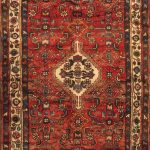 Hand-knotted Hamadan Red Wool Rug 3'7″ x 9'8″