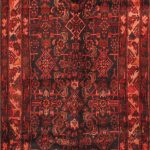 Hand-knotted Malayer Brown, Red Wool Rug 3'6″ x 10'7″