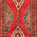 Hand-knotted Hamadan Light Burgundy, Red Wool Rug 3'4″ x 9'6″