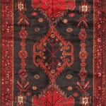 Hand-knotted Nahavand Red Wool Rug 3'9″ x 9'9″