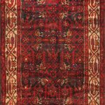 Hand-knotted Malayer Brown, Red Wool Rug 3'5″ x 9'6″