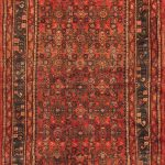 Hand-knotted Hosseinabad Red Wool Rug 3'6″ x 12'1″