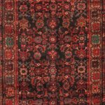 """Hand-knotted Hosseinabad Brown, Red Wool Rug 3'5″ x 9'10"""""""