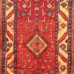 Hand-knotted Saveh Red Wool Rug 3'6″ x 9'7″