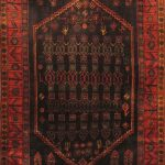 Hand-knotted Senneh Red Wool Rug 4'2″ x 10'5″