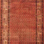 Hand-knotted Arak Red Wool Rug 3'8″ x 10'7″