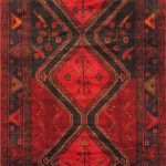 "Hand-knotted Koliai Red Wool Rug 4'11"" x 11'9″"