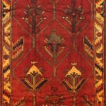 Hand-knotted Shiraz Qashqai Red Wool Rug 4'5″ x 10'2″