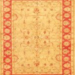 Hand-knotted Chobi Finest Beige, Orange Wool Rug 6'2″ x 8'0″