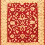 Hand-knotted Chubi Collection Beige, Red Wool Rug 8'4″ x 10'0″
