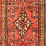 Hand-knotted Hamadan Red Wool Rug 3'6″ x 9'7″