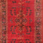 Hand-knotted Kurdish Select Red Wool Rug 4'3″ x 10'7″
