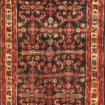 Hand-knotted Malayer Brown, Red Wool Rug 3'3″ x 9'0″