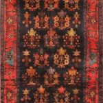 "Hand-knotted Koliai Red Wool Rug 3'11"" x 10'6″"