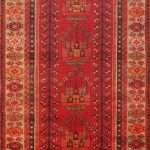 Hand-knotted Roodbar Red Wool Rug 3'4″ x 9'6″
