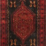 Hand-knotted Zanjan Red Wool Rug 4'9″ x 11'9″