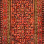 Hand-knotted Malayer Red Wool Rug 3'6″ x 10'1″