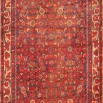 Hand-knotted Hosseinabad Red Wool Rug 3'4″ x 13'6″
