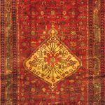 Hand-knotted Hamadan Dark Khaki, Red Wool Rug 4'3″ x 11'1″