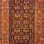 Hand-knotted Malayer Brown, Orange Wool Rug 4'7″ x 10'8″