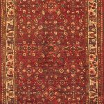 Hand-knotted Hosseinabad Brown, Red Wool Rug 3'3″ x 9'6″