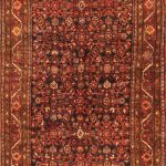 """Hand-knotted Hosseinabad Red Wool Rug 3'11"""" x 12'7″"""