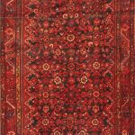 Hand-knotted Malayer Red Wool Rug 3'7″ x 11'5″