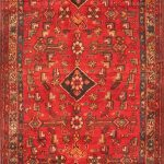 Hand-knotted Hosseinabad Beige, Red Wool Rug 3'7″ x 9'5″