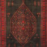 Hand-knotted Zanjan Navy, Red Wool Rug 4'9″ x 11'1″