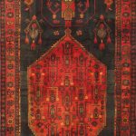 "Hand-knotted Zanjan Red Wool Rug 4'11"" x 11'10"""