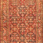 Hand-knotted Mahal Dark Copper, Navy Wool Rug 3'3″ x 12'1″