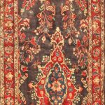 Hand-knotted Mehraban Light Navy, Red Wool Rug 3'5″ x 11'4″