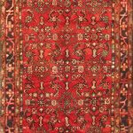 """Hand-knotted Hosseinabad Red Wool Rug 3'9″ x 10'11"""""""