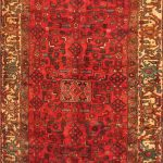 Hand-knotted Hosseinabad Red Wool Rug 3'5″ x 9'1″