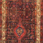 Hand-knotted Sarab Brown, Red Wool Rug 3'7″ x 12'3″