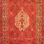 Hand-knotted Hosseinabad Red Wool Rug 3'6″ x 9'9″