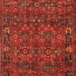 Hand-knotted Hosseinabad Light Black, Red Wool Rug 3'7″ x 8'7″