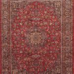 "Hand-knotted Mashad Light Burgundy, Navy Wool Rug 9'10"" x 12'9″"