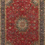 Hand-knotted Kashmar Light Navy, Red Wool Rug 9'6″ x 12'11""