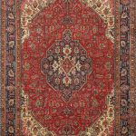 Hand-knotted Tabriz Navy, Red Wool Rug 9'5″ x 12'11""