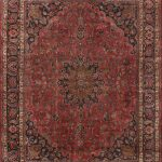 Hand-knotted Mashad Red Wool Rug 9'8″ x 12'6″ (1)