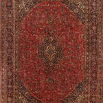 """Hand-knotted Mashad Red Wool Rug 9'2″ x 12'10"""""""